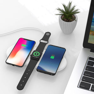 iPhone Fast qi Charging Stand 10w Charge Adapter Wireless Fast Charging Pad 3 in 1 Wireless Charging Pad Fast Wireless Charging For Cell Phones Bluetooth Watch By LUD | iWatch iPhone Edge S6 Note Phones Compatible Quick 5W 7.5W 10W Enabled
