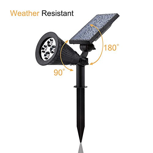 Solar LED Outdoor Lights Waterproof By LUD | Adjustable Solar Spotlight Illuminates Your Sign, Garden, Fountain, Trees, Yard, Pool, Patio & Entire Landscape