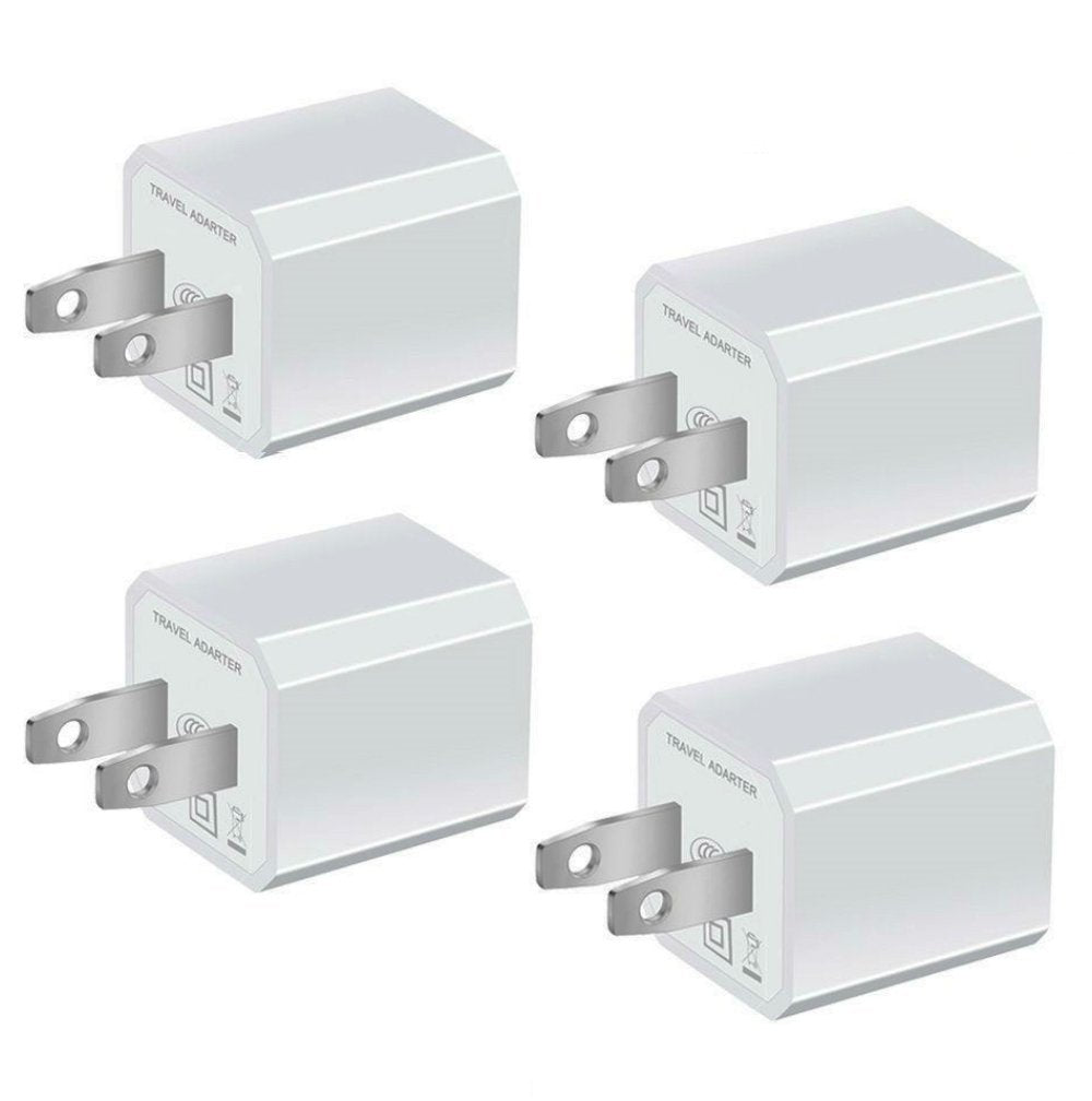 USB Wall Charger, Certified Power Gadgets 5V/1A Universal Mini Portable Travel Adapter High Speed 1.0A Output for iPhone iPad Samsung HTC LG iPod Nokia (White 4 Pack)