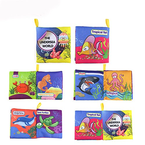 Baby's First Non-Toxic Soft Fabric Cloth Book Set—Colorful, Squeak and Rattle, Crinkle Children Educational Toys, Baby Shower Gifts for Boy and Girl, Pack of 12