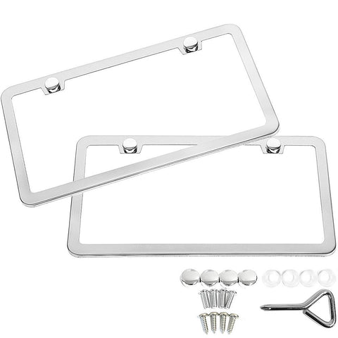 License Plate Frame Chrome By LUD |  Durable & Theft Resistant License Plate Frame Chrome With Screws, Screw Caps & Screw Cup Washers