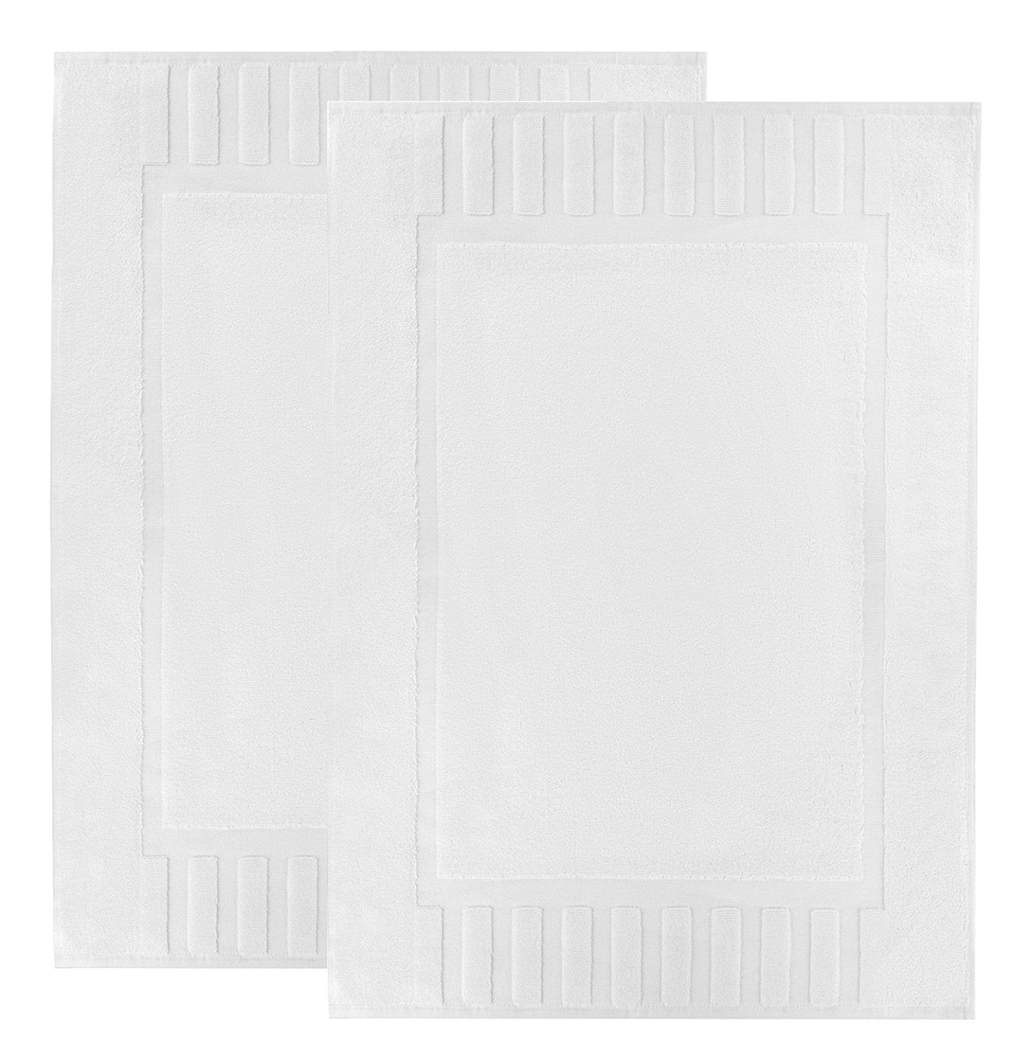 "Luxury Hotel and Spa 100% Cotton Washable Bath Mats, 2 Pack, 22""x34"", White, (Reversible Step Out Bath Mat Set)"