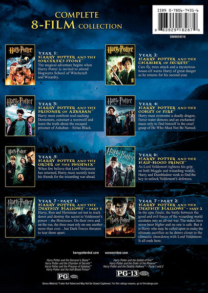 Harry Potter - The Complete 8-Film DVD Collection By WB | 8 Set DVD New Release 2017
