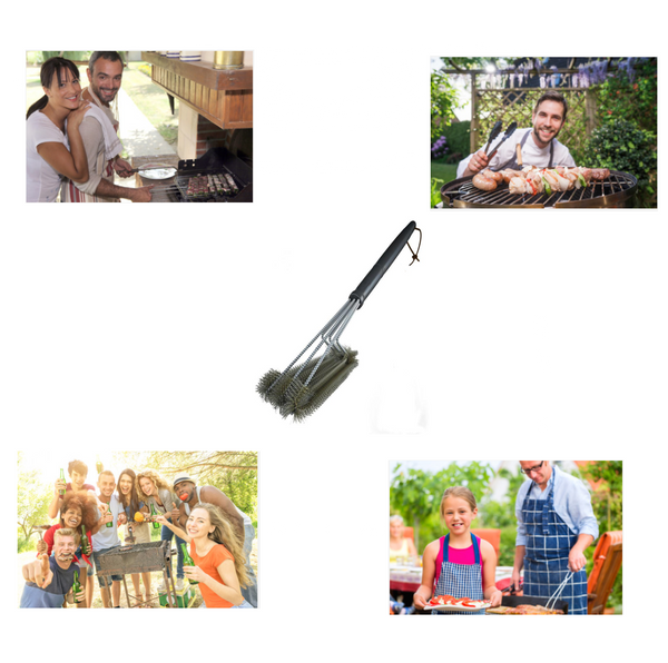 BBQ Grill Brush Stainless Steel By LUD | Quickly Remove Burnts & Stubborn Residues On Barbecue Grill, Perfect For Cleaning & Scraping With Wire Bristles & Soft Comfortable Handle 18-inches