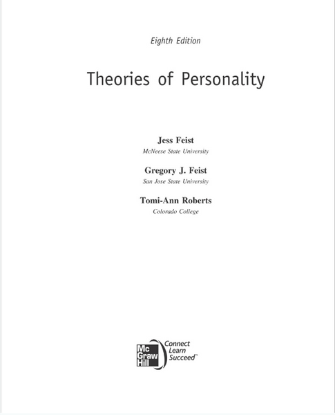 Theories of Personality 8th Edition by Jess Feist, Gregory Feist, Tomi-Ann Roberts Paperback - 978-0073532196