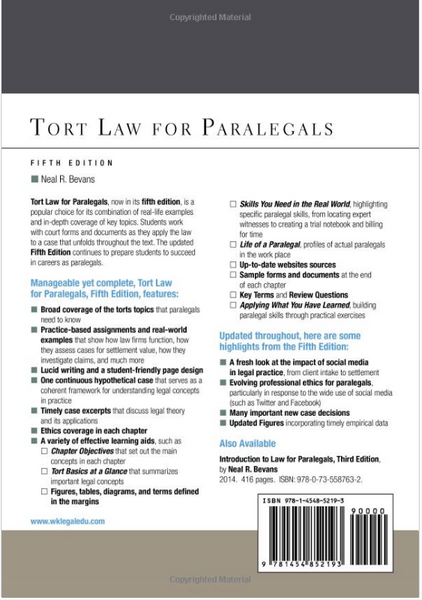 Aspen College: Tort Law for Paralegals by Neal R. Bevans 2015, Paperback 5th Edition - 978-1454852193