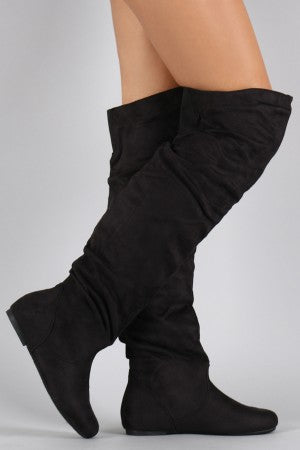 Suede Slouchy Over-The-Knee Flat Boot