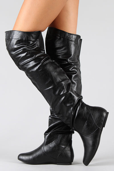 Slouchy Thigh High Flat Boot