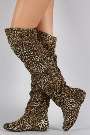 Leopard Slouchy Thigh High Boot For Women By LUD | Shop Women's Fashion Slouchy Thigh High Boot Leopard Print Faux Suede Upper Round toe front Elastic Gusset For Better Fitting Easy Pull On Style Slouchy Thigh High Boot