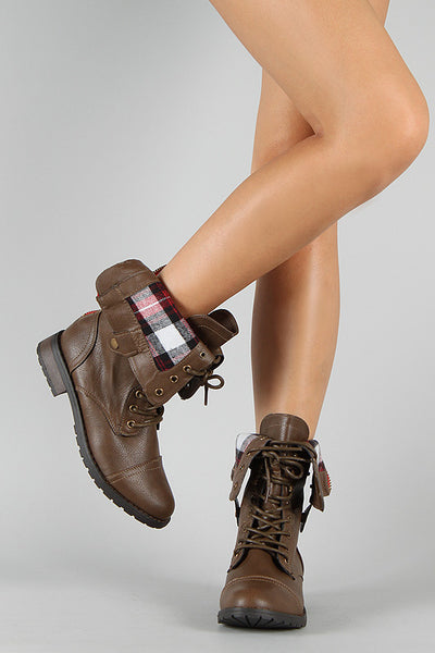Lace Up Military Boot For Women By LUD | Shop Women's Fashion Stylish Gear Up Into Combat Mode Plaid Boots Round Toe Silhouette Lace Up Front Adjustable Snap Buttons Plaid Cuff Military Boot