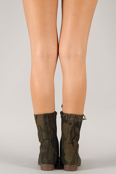 Camouflage Military Lace Up Mid Calf Boot
