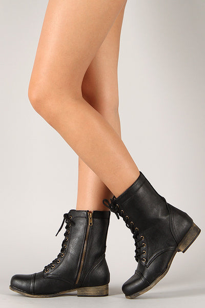 Bamboo Lace Up Combat Boots