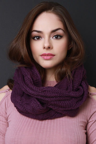 Interwoven Crochet Scarf For Women By LUD | Shop Women's Fashion Knitted Infinity Scarf Winter Thick Warm Wrap Women Scarf Fashion Circle Loop Scarves Scarf