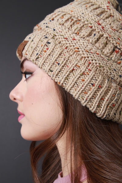 C.C. Beanie Hat Beige Tan Knit Womens By LUD | Women's Fashion Speckle Ridged Knit Beanie