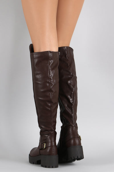 Riding Over-The-Knee Boots For Women By Bamboo | Shop Women's Fashion Lovely Buckle Round Toe Lug Sole Flatform Riding Over-The-Knee Boots Women's Thigh High Over The Knee Wide Boots