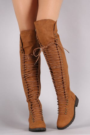 Combat Lace Up Over-The-Knee Boots For Women By LUD | Shop Women's Fashion Thigh High Boots Lace Up Combat Boots Chunky Heel Over the Knee Riding Boots