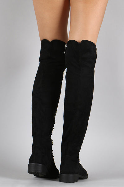 Faux Suede Lace Up Boots Faux Suede Boot By Faux Suede |  Lace Up Faux Suede Over The Knee Boot