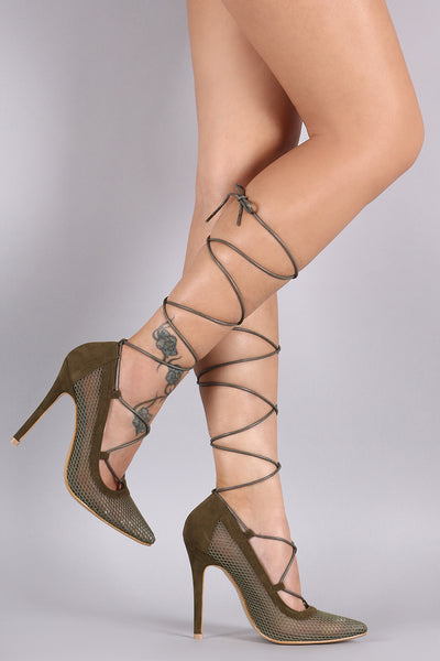 Suede Net Pointy Toe Lace-Up Pump