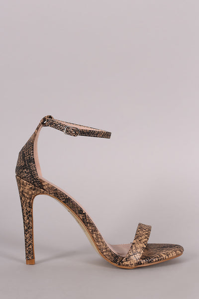 Snake Ankle Strap Open Toe Stiletto Heel