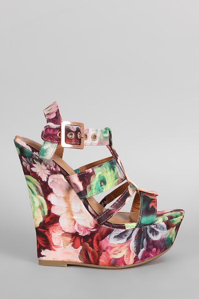 Bamboo Floral Print Strappy Platform Wedge