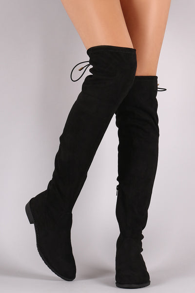 Suede Drawstring Riding Boots For Women By LUD | Thigh High Over The Knee  Drawstring Block Flat Heel Pointy Round Toe And Stretchy Thigh High Snug Fit Boots