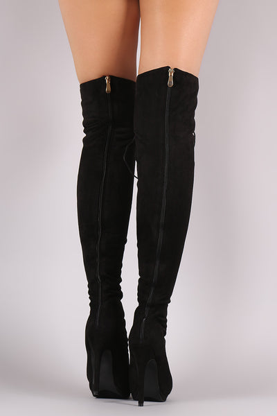 Over Knee Boots For Women Vegan Suede Thigh High Boots By Liliana Suede | Liliana Suede Lace Up Stiletto Heeled Over-The-Knee Boots