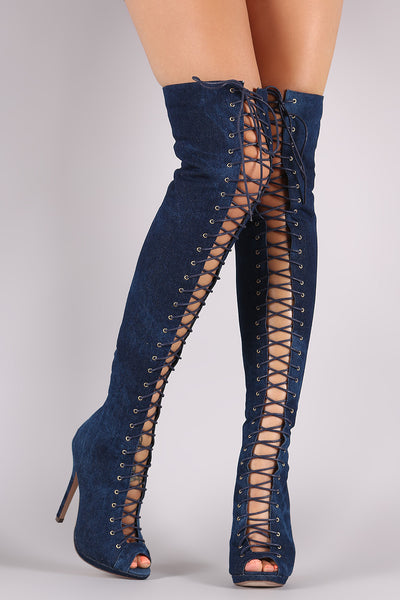 Heeled Over-The-Knee Boots For Women By Liliana | Shop Women's Fashion Denim Striking Over The Knee Boots Peep Toe Silhouette Lace Up Low Platform And Wrapped Stiletto Heel