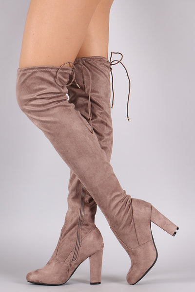 Bamboo Fitted Suede Chunky Heeled OTK Boots