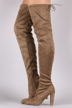 Wild Diva Lounge Suede Drawstring-Tie Heeled Over-The-Knee Boots