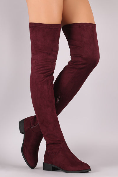 Suede Over the Knee Fitted Boots