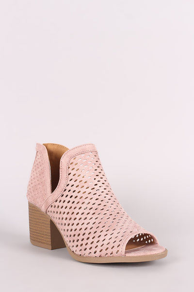 Qupid Distressed Perforated Side Slit Block Heeled Booties