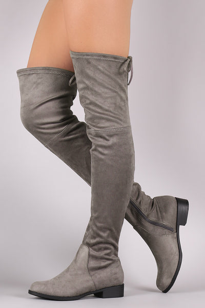 Block Heeled Riding Boots For Women By LUD | Shop Women's Fashion Lovely Stylish Fashionable Suede Drawstring-Tie Knee Silhouette Block Heeled Riding Boots