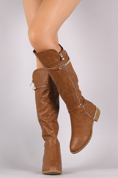 Buckled Strap High Low Riding Knee High Boots