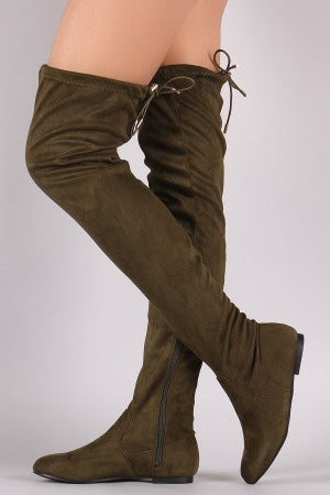 Suede Drawstring Tie Over-The-Knee Flat Boots