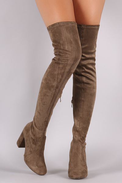Suede Chunky Block Heeled Over-The-Knee Boots