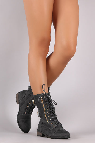 Suede Buckled Zipper Combat Lace Up Boots