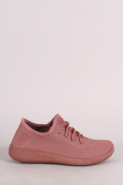 Spec Knit Rigged Sneakers For Women By Qupid | Shop Women's Fashion Lovely Stylish Sneakers Spec Knit Lace Up Front Rigged Outsole And Sole Sneakers