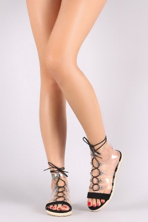 Studded Clear Caged Lace Up Espadrille Flat Sandal