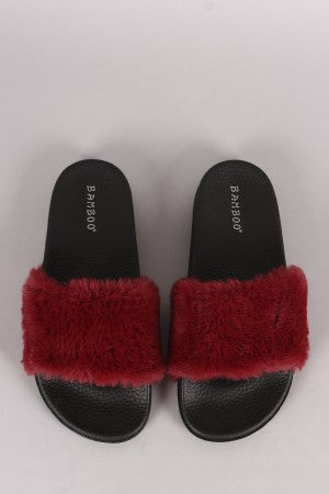 Bamboo Open Toe Fluffy Faux Fur Slide Sandal