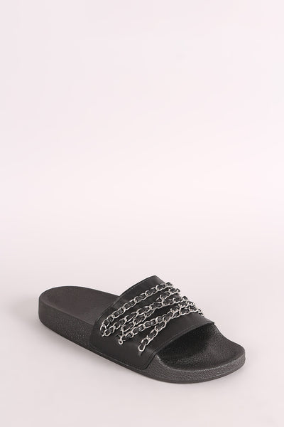Open Toe Slide Sandal For Women By Qupid | Shop Women's Fashion Lovely Stylish Sandal Chain Embellished Open Toe Silhouette Molded Footbed Slide Sandal