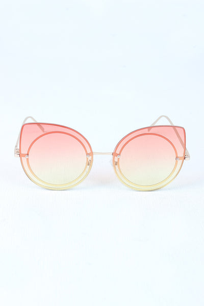 Sculpted Mirrored Cat Eye Round Sunglasses