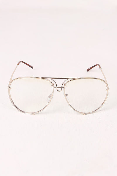 Classic Clear Lens Wire Aviator Glasses