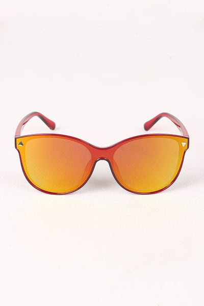 Wayfarer Sunglasses For Women By LUD | Shop Women's Fashion Lovely Stylish Fashionable Stud Accent Mirrored Plastic Frame Wayfarer Sunglasses