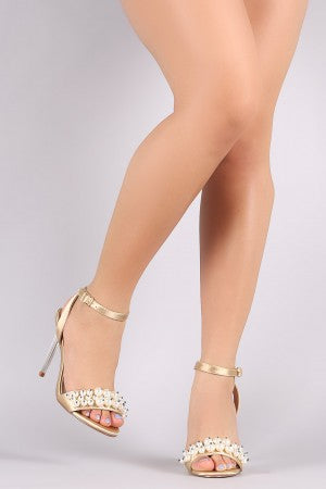 Faux Pearl Satin Ankle Strap Stiletto Clear Heel