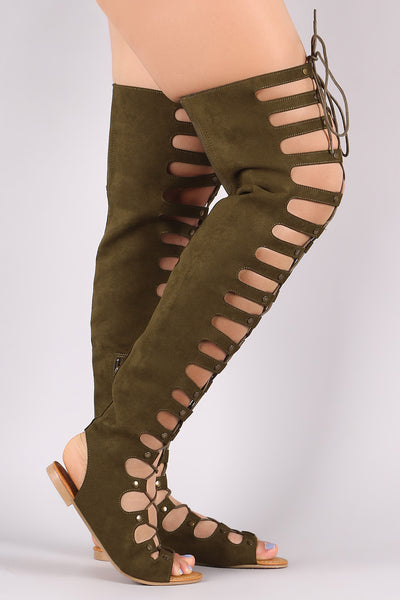 Gladiator Flat Sandal For Women By Bamboo | Shop Women's Fashion Studded Thigh High Lace Up Gladiator Over The Knee Thigh High Caged Flat Sandal Boot