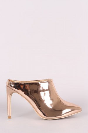 Patent Pointy Toe Stiletto Mule Heel