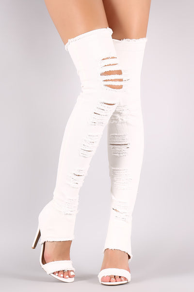 Distressed Denim Boots For Women Over The Knee Boots By Qupid | Shop Women's Fashion Lovely Stylish Boots Slightly Stretchy Denim Upper Shredded Open Toe Silhouette Raw Edges Wrapped Stiletto Heel Distressed Denim Open Toe Over-The-Knee Boots