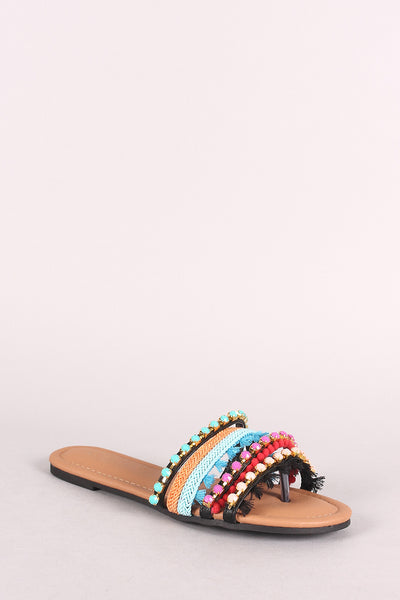 Jewels And Fringes Embellished Slide Thong Sandal