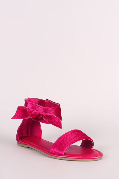 Bamboo Velvet Side Bow Single Band Flat Sandal