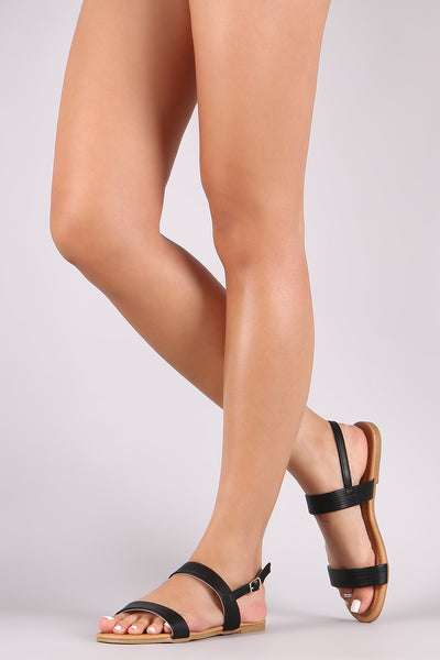 Qupid Leather Open Toe Double Band Slingback Flat Sandal